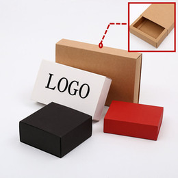 Wholesale drawer gift box - 10sizes 3colors Luxury black kraft paper sliding box, cardboard drawer box, CD sleeve Black slide box Custom gift box