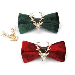 Wholesale Mens Cravat Ties - Luxury Aristocracy Style Velvet Cravat Bowknot Men Bow Ties Mens Bow Tie Metal Elk Solid Blue Bow Wedding Groom Bowtie Gifts