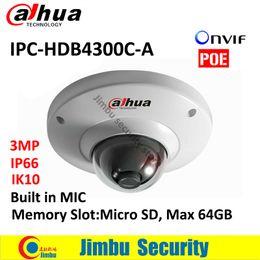 Wholesale Ipc Securities - DAHUA POE dome IPC camera IPC-HDB4300C-A 3MP IR 30m Built-in MIC security IP camera Memory Slot Max 64GB CMOS IK10 mini