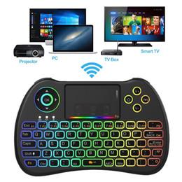 usb telecomando htpc Sconti H9 Retroilluminato Fly Air Mouse Retroilluminazione colorata Mini tastiera QWERTY 2.4 Ghz Telecomando wireless per Android TV Box Mini PC HTPC