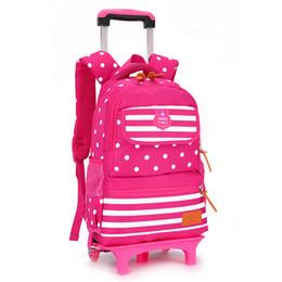 Wholesale Red Trolley - Children Trolley School Bag Backpack Wheeled School Bag For Grils Kids Wheel Schoolbag Student Backpacks Bags