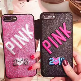 Wholesale 3d Silicone Phone Cases Wholesale - 2018 New PINK Bling Soft TPU Case For Iphone X 8 7 Plus 6 6S Samsung Galaxy S9 Glitter 3D Embroidery Love Pink Cell Phone Skin Cover 60pcs