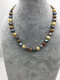 Pepitas de perlas online-Collar multicolor hecho a mano de 20inches 11mm Big Nugget Pearl, boda, regalo de cumpleaños del día de madres del amor del amor, joyería de la felicidad