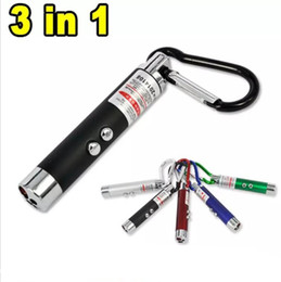 red stick pen Promo Codes - 3 in 1 Funny Pet stick Cat Toys Red Laser Pointer Pen With White Purple LED Light Show Key Chain Money Detector Pen toy