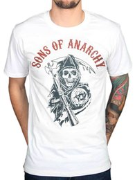 Wholesale motor cycles - Official Sons Of Anarchy Reaper Flag Colours T-Shirt MC Motor Cycle Club Teller