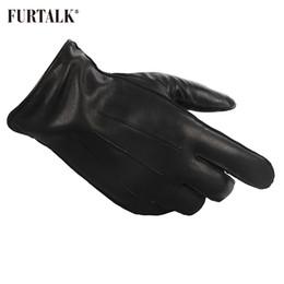 forro de cachemira Rebajas FURTALK Fashion Men Winter Real Lamb Guantes de cuero de moda con cálida cachemira forro guantes tácticos