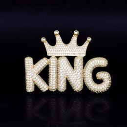 gancho lleno Rebajas Nombre personalizado Burbuja pequeña carta colgante collar con corona gancho helado hacia fuera lleno Zircon hombres Hip Hop regalo de la joyería