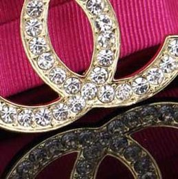 Wholesale Gold Tone Wedding Jewelry - Delicate Crystal Rhinestone Brand Letters Corsage Brooches Women Gold Tone Brooches Wedding Party Jewelry Clothing Accessory