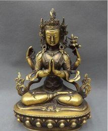 2019 tibet bronze buddha Tibet Bronze buddhistische Kwan-Yin Göttin Lotus 4 Arme Kwan-Yin Buddha Statue günstig tibet bronze buddha