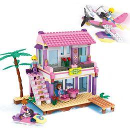 Wholesale Plastic Blocks For Babies - Cogo Friends Series 14515 Beach Villa 423 PCS Building Block House Sets For Girls DIY Bricks Baby Gift Toys