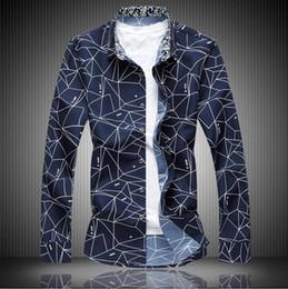 Wholesale Mens Dress Shirt Classic - Spring Men Shirt Blue White High Quality Classic Formal Geometric Plaid Long Sleeve Dress Shirts Mens M-7XL