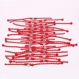 Pulsera de cadena roja diy online-Venta caliente letras coreanas Red String Pulsera con diamante DIY cuerda de la mano joyería tejida pulsera exquisita regalo