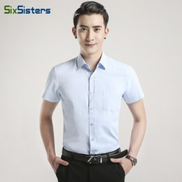 Wholesale Men Slim Work Shirts - Summer Plus Size Men Short Sleeve Shirt Slim Fit Men's Dress Shirts Solid Color Pocket Patchwork Casual Work Wear Shirts HS1791