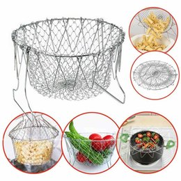Wholesale Fry Baskets - Stainless Steel Expandable Foldable Fry Chef Basket Kitchen Colander Magic Mesh Basket Strainer Net Cooking Steam Rinse Strain Basket