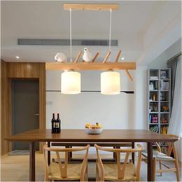 Luces colgantes de estilo japonés online-SVITZ Nordic Bird Personalidad Restaurante Led Luz Colgante Estilo Pastoral Bar Creativo Colgante Luces Lámparas de Madera Maciza Japonesas