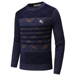 suéteres de moda Rebajas Venta al por mayor envío gratuito de los hombres con estilo Vogue Casual Fit cálido suave del o-cuello de manga larga Tops Jumper suéter