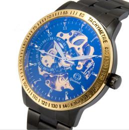 vestido de esqueleto azul Desconto Azul Vencedor Da Marca oco Moda Ouro relógio de pulso de aço Automático Dos Homens do Sexo Masculino Relógio Clássico Mecânico Auto Vento Vestido de Pulso Esqueleto Assista A273