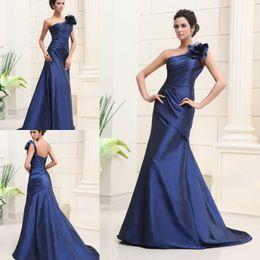 robe grande taille à fleurs bleu marine Promotion Robes de soirée bleu marine foncé sirène une épaule faite main fleur robe de bal en satin robes de soirée taille plus train de balayage robes de soirée