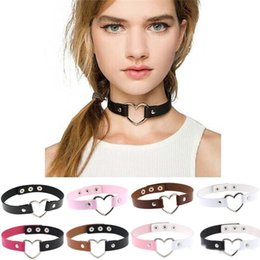 Wholesale Collared Slaves - Goth Simple Color Love Heart Charm PU leather Chokers Necklace Collar Torques Slave necklace for Women Fashion Jewelry