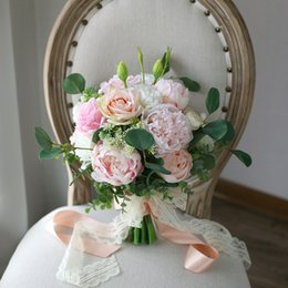 Wholesale Pink Roses Bridal Bouquets - Pink Champagne Forset Bridal Bouquets White Rose Peony Wedding Home Decoration Artificial Bride Holding Brooch Bouquet Bride Photography