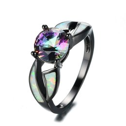 Wholesale Purple Opals - Multicolor Zircon Blue White Pink Fire Opal Rings Purple Vintage Fashion Black Gold Filled Birthstone Rings Best Gifts