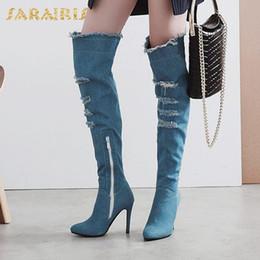 2019 botas de tacón caliente de invierno SARAIRIS New Brand Hot salePlus Size 33-48 Thin High Heels zapatos de mujer Botas Mujer Añadir Fur Winter Botas hasta la rodilla Mujer botas de tacón caliente de invierno baratos
