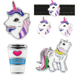 Wholesale dog collars 8mm - Mix Styles 8mm Unicorn Horse Coffee cup Slide Sharms Wristband Charms Fit 8mm Dog Cat Pet Collar Wristband Bracelet Jewelry Making