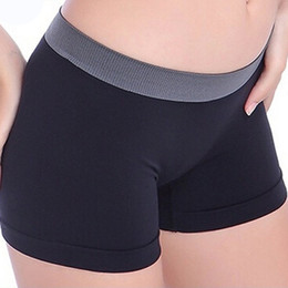 black female yoga pants wholesale Promo Codes - Women Fitness Sports Shorts Seamless Traceless Safety Shorts Underwear Panties Quick Dry Gym Yoga Female Briefs