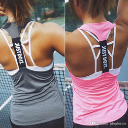 Wholesale Singlet Running - Women Gym Sports Sleeveless Shirts Tank Tops Fitness Running Clothes Loose Quick Dry Tops Vest Singlets