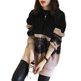 Wholesale Xl Sweatshirt Dress - 2018 Korean Lace Fleece Hoodies Dress Women L-5xl Oversized Sweatshirts Women Pullover Thicken Outwear Poleron Mujer