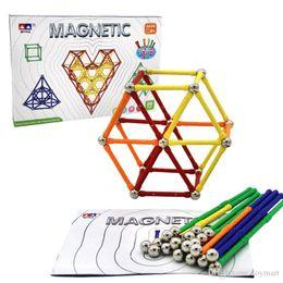 Wholesale Magnetic Magnet Balls - 99pcs Magnetic Sticks Blocks DIY Magnetic Construction Set Magnet Sticks with Steel Balls Intelligence Development Toy