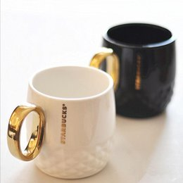 Wholesale Cup Spoon Handle - Wholesale- The gold cup nouveau riche ceramic cup coffee mug handle TT159 black and white gold