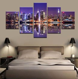 Wholesale modern cat art - Modern Canvas Pictures Living Room Wall Art 5 Piece Animal Cat Wolf Dog Poster Husky Meow Star Painting Printed Home Decor Frame a026