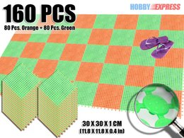 Пластиковые напольные покрытия онлайн-New 160 pcs Circle Paern Home Decor Plastic Flooring Mat Tile 30 x 30 cm Indoor / Outdoor KK1129 Green and Orange Combination