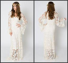 Marfim maxi vestidos on-line-Mais novo-Inspirado no Vintage Bohemian Vestido De Noiva BELL SLEEVE LACE Crochet Marfim ou Branco Hippie Vestido de Noiva Boho Bordado Maxi Vestido de Renda