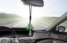 Pietre a specchio online-Car Pendant Stone Cross Crucifix Hanging Ornaments Christian Automobiles Interior Specchietto retrovisore Ciondola gli accessori di decorazione