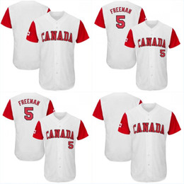 Wholesale Classic Canada - #5 Freddie Freeman Men's Canada Team 2017 World Baseball Classic All Stitched Freddie Freeman High Quality Baseball Jersey