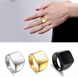 Wholesale signet silver - New Fashion Square Big Width Signet Rings Fashion man Finger Silver Men Ring Titanium Steel Jewelry