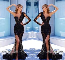 Élégante robe de soirée noir une épaule en Ligne-Vintage élégante sirène noire formelle robes de soirée sexy une épaule pure manches longues dentelle complète longue robes de bal de côté robe fendue BA9571