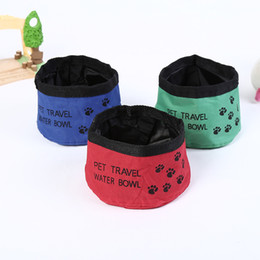 Wholesale Pet Food Containers - Portable Pet Dog Bowl Oxford Cloth Dog Cat Collapsible Foldable Travel Camping Food Water Feeder Bowl Dish Food Container