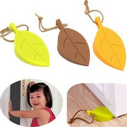 Wholesale Silicone Wedge - Hot Silicone Rubber Door Stopper Cute Autumn Leaf Style Home Decor Finger Safety Protection Wedge Kid Baby Safe Doorways