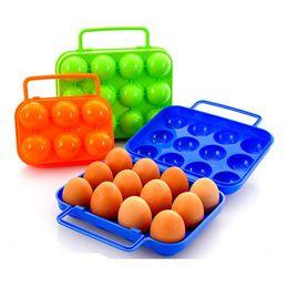 Caixa da caixa do ovo on-line-12 pcs Caixa De Armazenamento De Ovo Portátil Carry Titular Recipiente De Plástico Caso Dobrável Cesta Ao Ar Livre 6 pcs Piquenique Ovo Organizador Caixa WX9-575