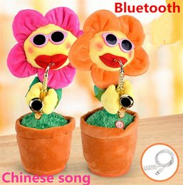 Wholesale play dance - Novelty electric sunflowers Toy singing Music Sexy Musical enchanting Flower Dancing Saxophone Stuffed bluetooth play and build-in 16 songs