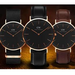 Marcas de relógios japonês on-line-Hot top quality marca de moda casal homens 40mm senhoras 36mm relógio à prova d 'água pulseira de couro de prata movimento japonês assistir presente