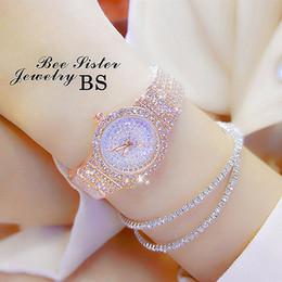 2019 relógios de senhora 2018 Novas Mulheres Cheias de Strass Relógios De Luxo Rose Gold Dress Watch Completa de Diamante de Cristal das Mulheres de Luxo Relógios Femininos Relógios De Quartzo Relógios relógios de senhora barato