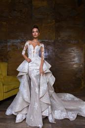 2018 nuovi abiti da sposa a sirena con scollo a cuore staccabile abito da sposa appliquato illusion abito da sposa paese corpetto 2019 da