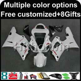 Pintura moto plástica online-23 colores + 8Regalos + muchos esquemas de pintura + carenado de motocicleta blanca para Yamaha YZFR1 2000 2001 YZF-R1 00-01 Kit de plástico ABS