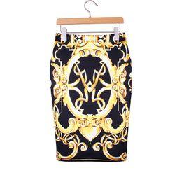 Wholesale Lady S Bottom Skirt - M-XXL women pencil skirts America & Europe fashion ladies slim faldas Golden chain print vogue girls casual bottoms