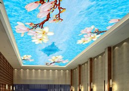 Wholesale Vinyl Ceiling - vinyl flooring bathroom Fresh lily tooling ceiling 3d wallpaper for ceiling