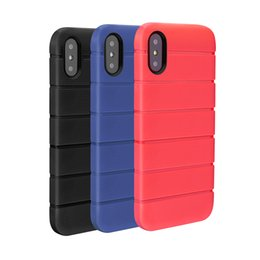 Wholesale Cell Phone Slip Case - Case for Apple iPhone X 6 6s 7 8 Plus Anti slip TPU Back Cover Dirt Resistant Protective Stripe Cell Phone Case